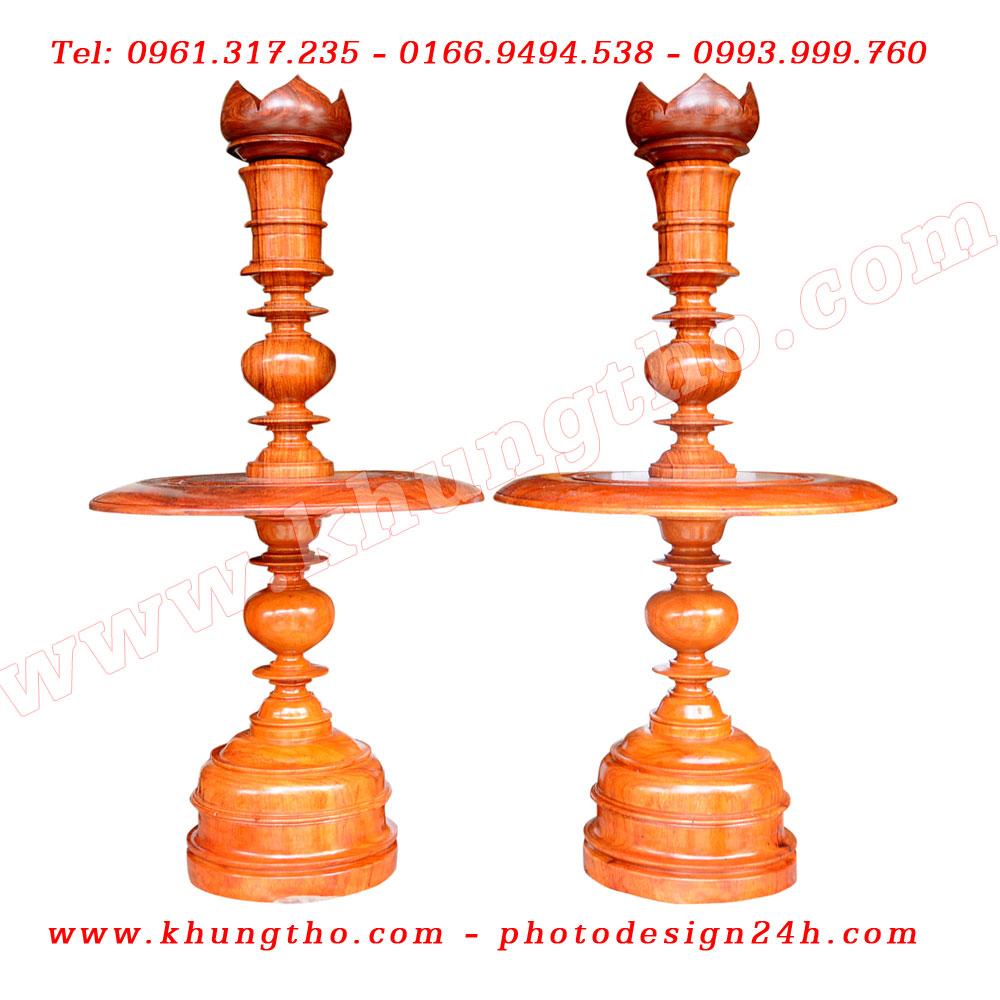 chân đèn thờ bằng gỗ hương