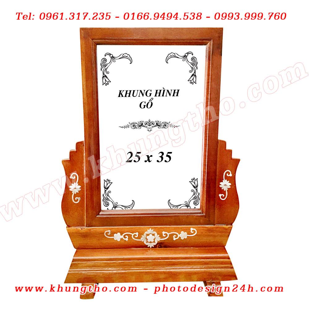 khung thờ gỗ 25x35 mẫu khảm