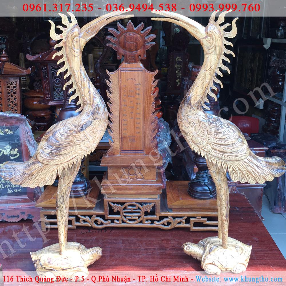 cặp hạc thờ gỗ
